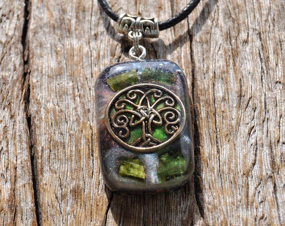 TREE of LIFE Orgonite® orgone Pendant with raw green Tourmaline Rectangle
