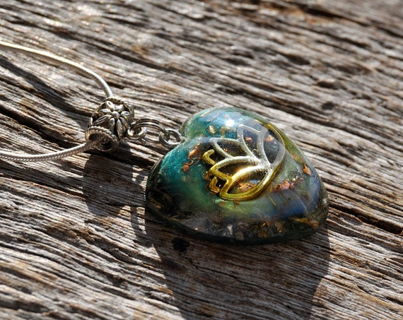 Heart with LOTUS Orgonite® pendant Necklace with Clear Quartz