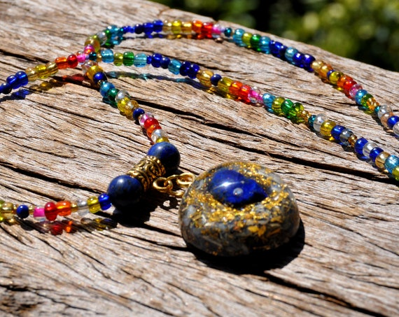 Raw Lapis Lazuli Orgonite® Pendant on beaded Necklace with 24K Gold, UNISEX