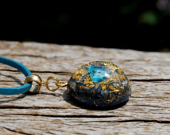 Raw Shattuckite Orgonite® pendant with 24K Gold, Adjustable faux suede Cord