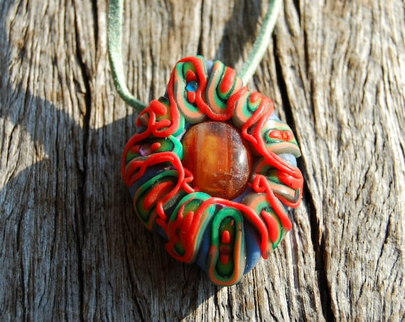 Carnelian Agate Pendant, UV Active,  Polymer Clay Necklace