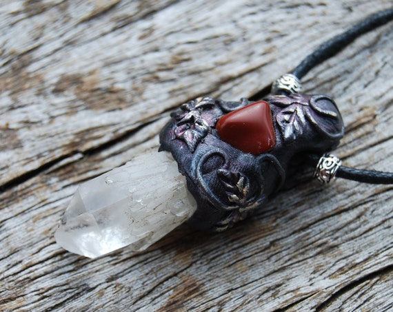 FREE Shipping  ! Pineapple Quartz with red Jasper Pendant Necklace, Clay Woodland Fantasy