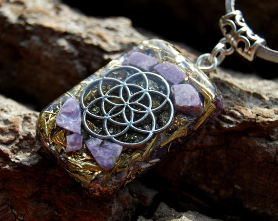 Charoite Seed of Life Orgonite® orgone Pendant  - FREE Shipping !