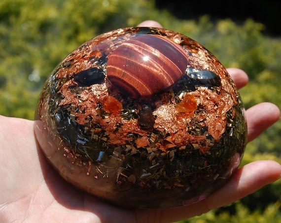 XXL Orgonite® Dome Red Tiger Eye, Elite Shungite and Hessonite Garnet - 548 grams