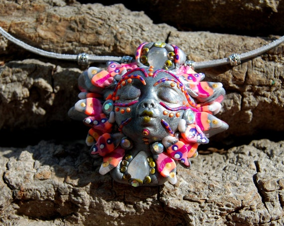 Goddess Pendant Necklace Clay with Moonstone Crystals, Unique Homemade