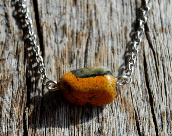 Bumble bee Jasper on Stainless Steel Necklace, Gemstone Pendant, Unisex