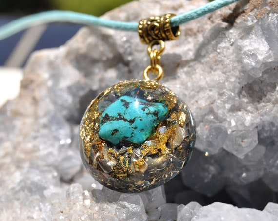 Tibetan Turquoise Orgonite® Orgone Necklace with 24K Gold, Unisex