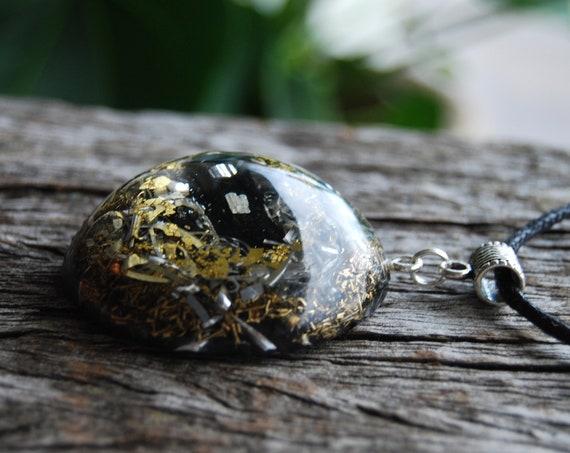 LARGE Black Tourmaline Orgonite® Pendant  24K gold, EMF Protection