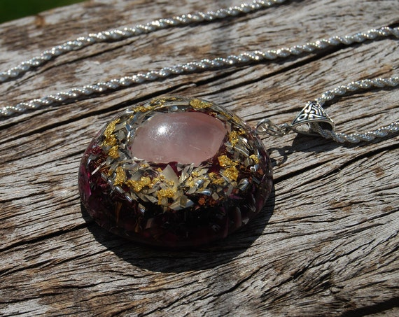 Powerful Rose Quartz Orgonite® Pendant with 24K Gold, Large, Orgone Necklace, Love, Self-Love, Forgiveness, Acceptation, Joy