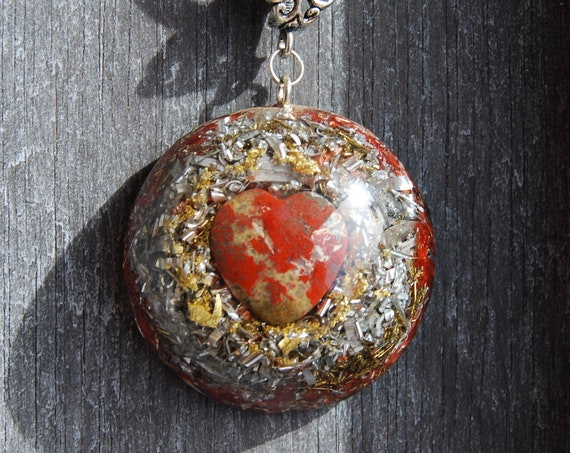 Brecci Jasper Heart Large Orgonite® Orgone Pendant Necklace, Unisex
