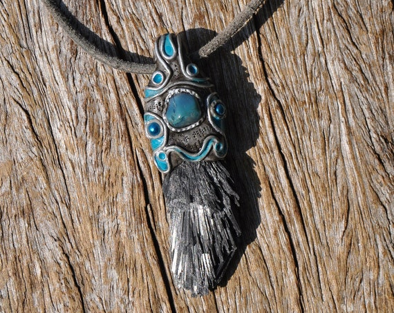Raw Black Kyanite with blue Agate Necklace,  Unisex