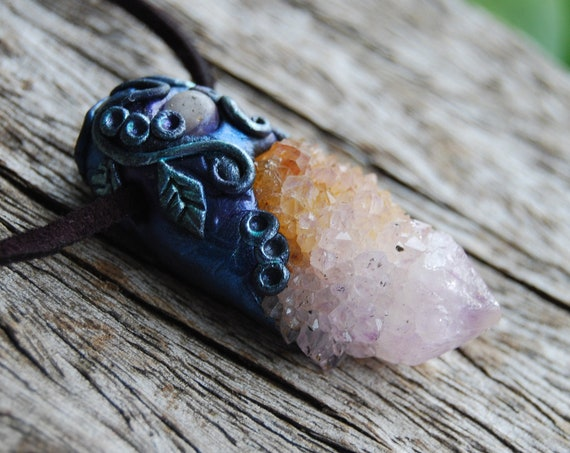 Spirit Quartz Pendant Ametrine Clay Handsculpted Necklace
