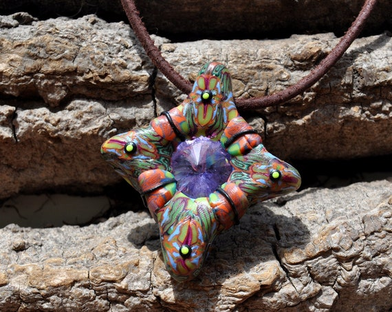 Psychedelic Pendant Glass Crystal Sun Handsculpted UV Clay Necklace