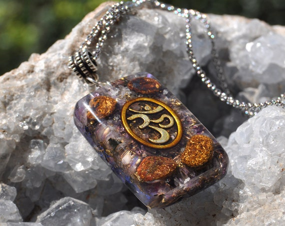 Bronzite Orgonite® orgone Pendant - Stainless Steel Necklace Protection, Grounding, Focus, Motivating, Innerpeace