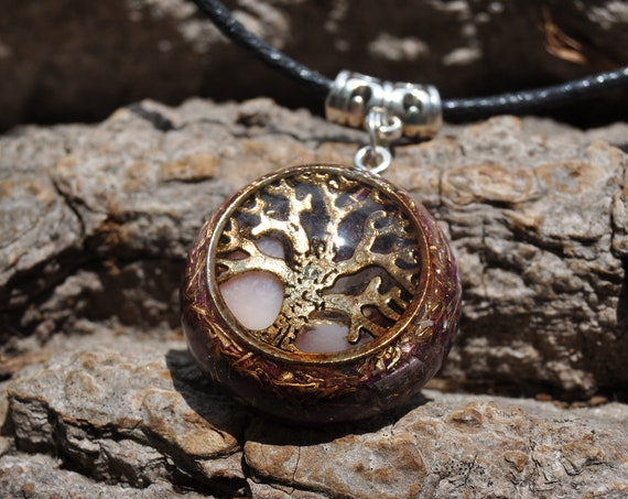 Pink Opal Orgonite® Necklace, Tree of Life Pendant - Heart Chakra, Calming, Creativity - FREE Shipping !