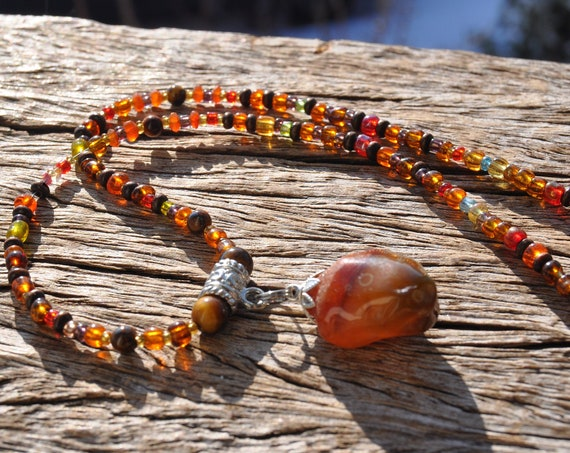 Carnelian Agate Pendant on Beaded Necklace  - UNISEX - Free Shipping