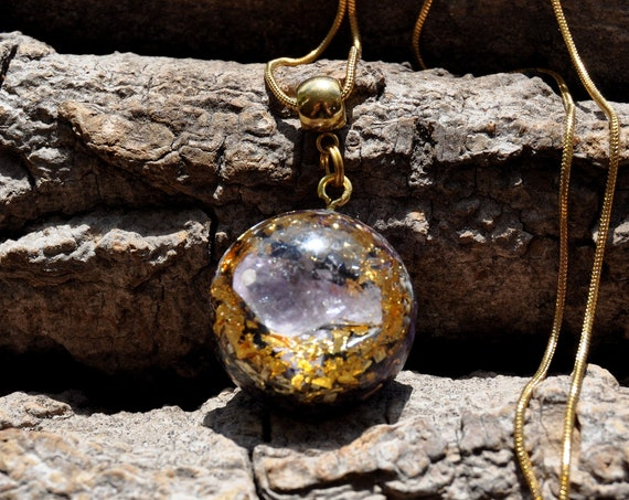 Amethyst Orgonite® pendant Necklace with 24k gold