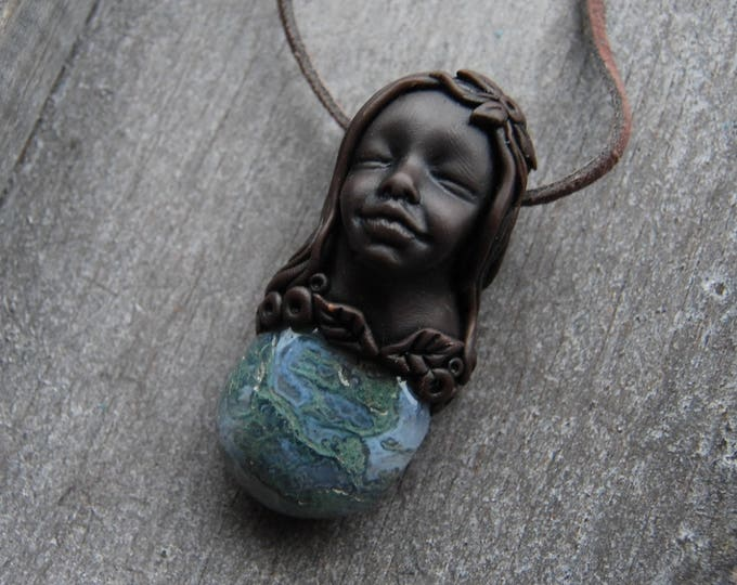Moss Agate Goddess Pendant Clay Stone Necklace Heart Chakra Healing Crystal