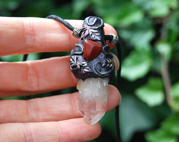 Pineapple Quartz with red Jasper Pendant Necklace, Clay Woodland Fantasy