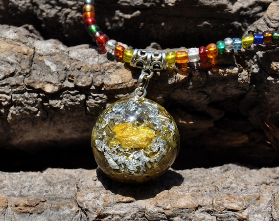Orpiment Orgone Orgonite® on colorful beaded Necklace with 925 silver, EMF Protection