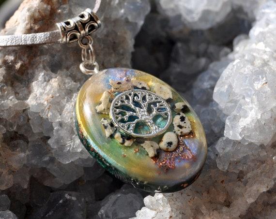 Dalmatian Jasper Orgonite® Pendant Necklace, Unisex  -FREE SHipping !