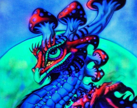 AIRBRUSH UV Backdrop Dragon Mushroom Fantasy