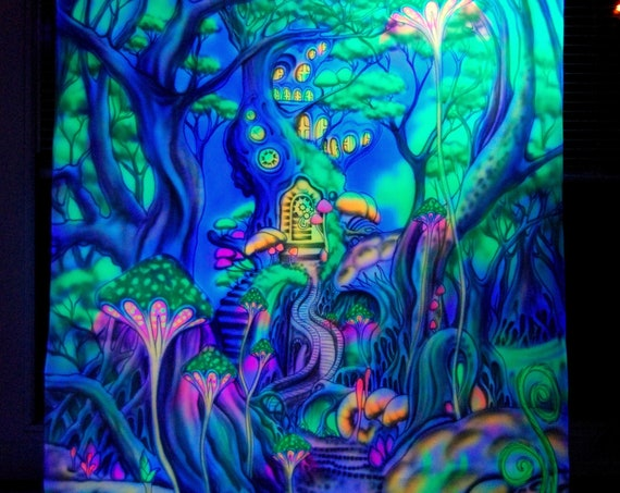 Handpainted AIRBRUSH UV Psy Backdrop Tapestry Treehouse - Psytrance Fantasy Forest Deco Blacklight Wall hanging