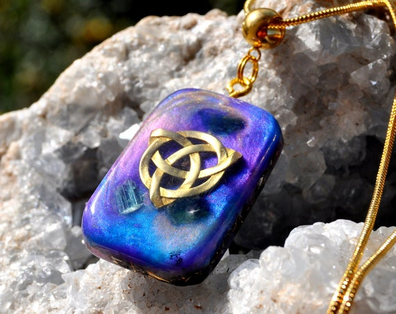 RESERVED Blue Tourmaline Orgonite® with Celtic Knot Necklace