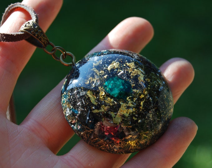 Dioptase Crystal Orgonite® Orgone Pendant Necklace