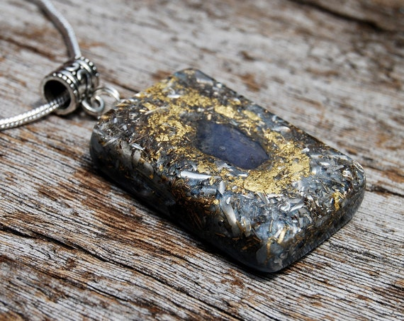 Tanzanite Orgone Orgonite® Men's Pendant Necklace with 24K Gold, FREE Shipping !