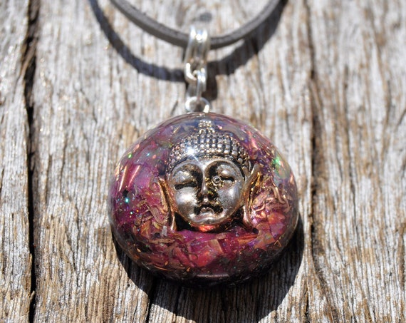 Buddha Orgonite® Orgone pendant Necklace on adjustable faux suede cord