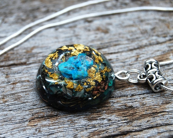 Orgonite® Necklace raw Chrysocolla Small Pendant