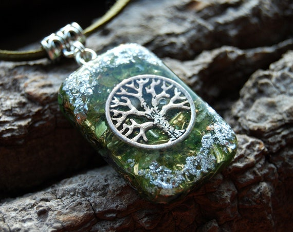 Tree of Life Orgonite® Orgone Pendant with Peridot and Sterling Silver, Unisex Necklace
