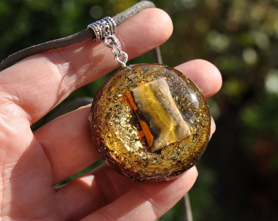 Bumble Bee Jasper Orgonite® Necklace with 24k Gold
