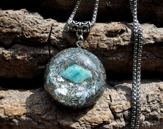AMAZONITE Orgonite® Pendant Necklace with 925 Silver, EMF Cleanser Unisex