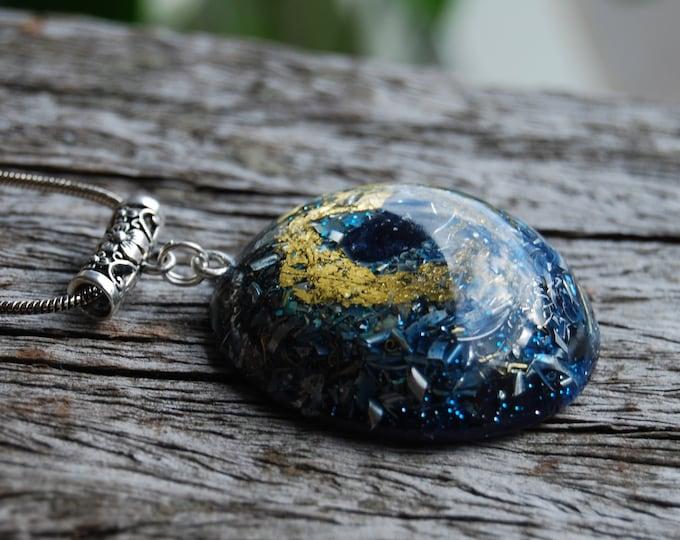 Raw blue Sapphire Orgonite®  Large Orgone Pendant 24K gold