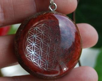 Red Jasper Orgone Orgonite® Pendant Flower of Life