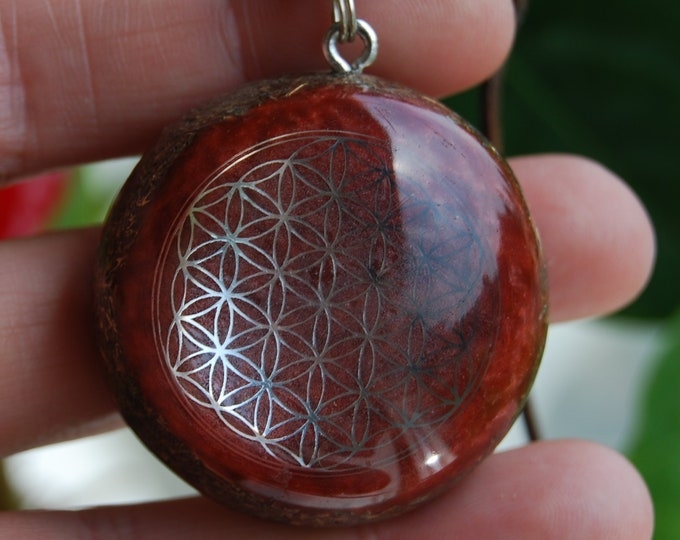 Red Jasper Orgone Orgonite® Pendant Flower of Life