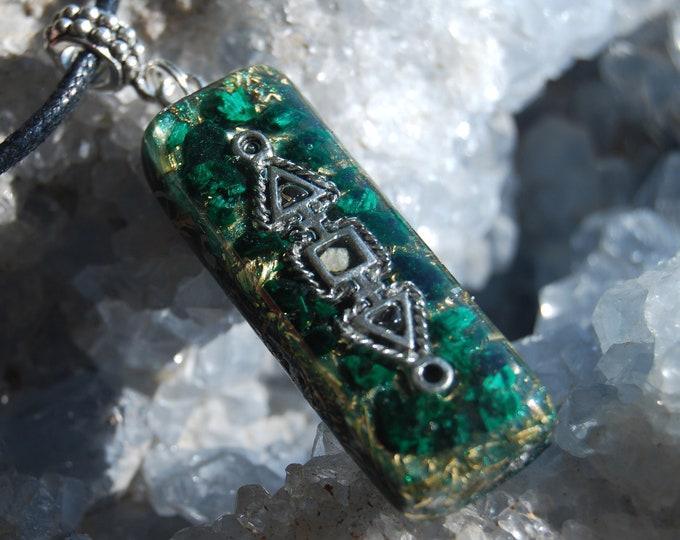 Raw Malachite Crystal Orgonite® Orgone Pendant Necklace