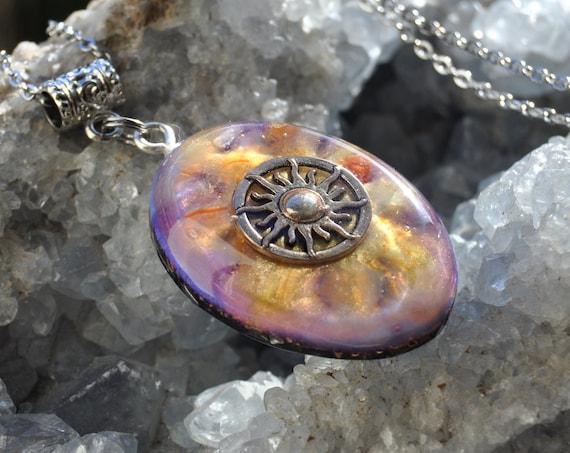 Sun Orgonite® with Carnelian Agate Pendant Necklace