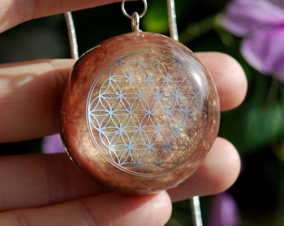 Flower of Life Orgonite® Pendant with pink Opal Necklace Unisex - FREE Shipping !