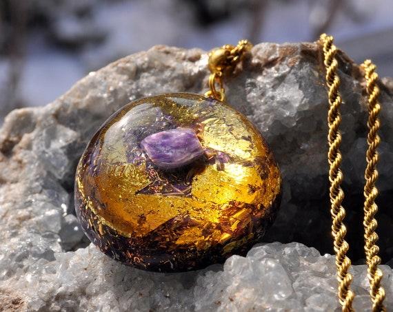 CHAROITE Orgonite® Pendant , Orgone Necklace - FREE Shipping !