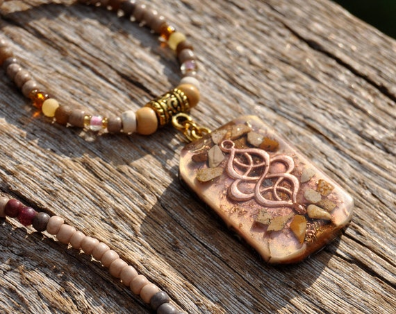 Picture Jasper Orgonite® Pendant on Beaded Necklace Unisex - Free Delivery !
