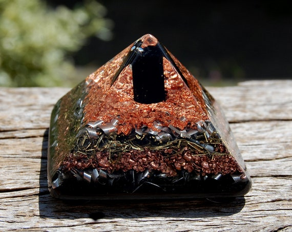 Black Tourmaline Orgonite® Pyramid - Orgone Generator® EMF Protection, 138 grams, 4,8 Oz. Free Shipping !