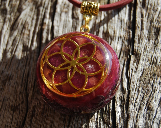 Pink Tourmaline Orgonite® Pendant Seed of Life Necklace Magano Calcite