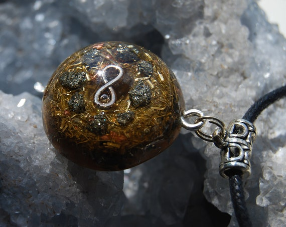 Pyrite Clusters Orgonite® Necklace, Infinity Pendant, Unisex