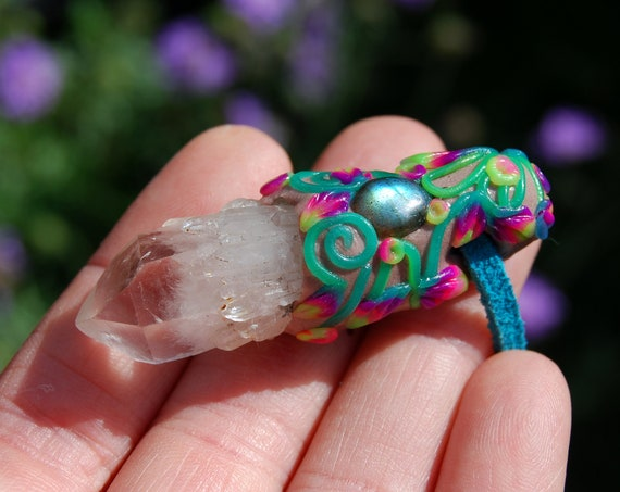 Quartz Crystal with Labradorite Necklace, Handsculpted Gemstone Clay Pendant, Colorful UV - FREE SHipping !