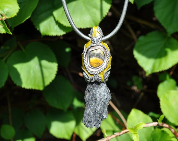 Raw Black Kyanite with Bumble Bee Jasper Necklace, Clay Gemstone Pendant, Unisex