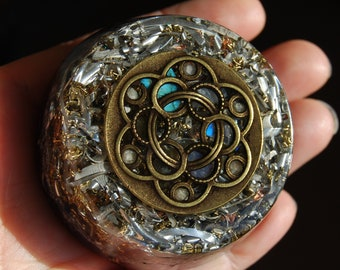 Moonstone and Labradorite Orgonite® LARGE Tower Buster Design