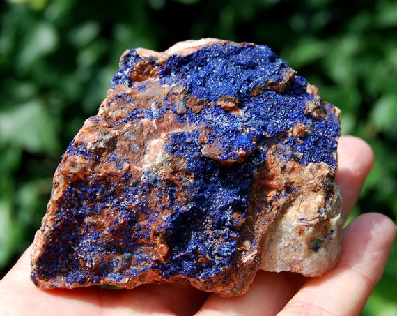 Raw Azurite Specimen, Crystals, Large Raw Azurite on Quartz , 230 grams, 8.1 ounces, A grade from Morocco